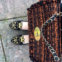 Mulberry Exotic Flame Tweed Lily / French Sole King Bulldog Opera Slippers
