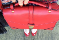 Accessorize Alessandra Satchel / French Sole Quilted Red Henrietta Flats