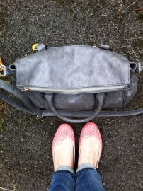 Grey Foldover Tote / French Sole pink woven Henriettas