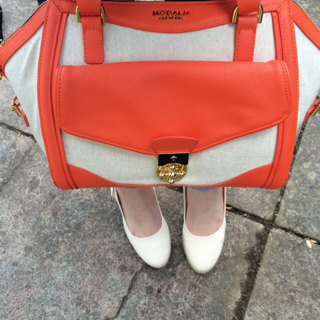 2554c4da3 Bag  n  Shoes  Modalu St Ives Grab Bag in Orange and Dune Imperia D Wedges  in Natural
