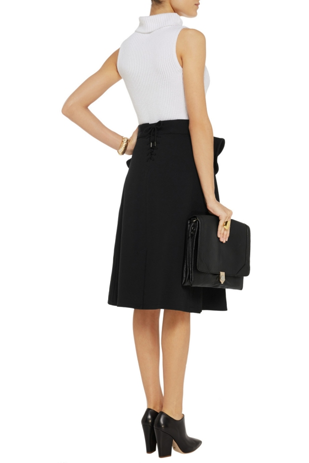 McQ Alexander McQueen Ruffled twill wrap skirt back FFF