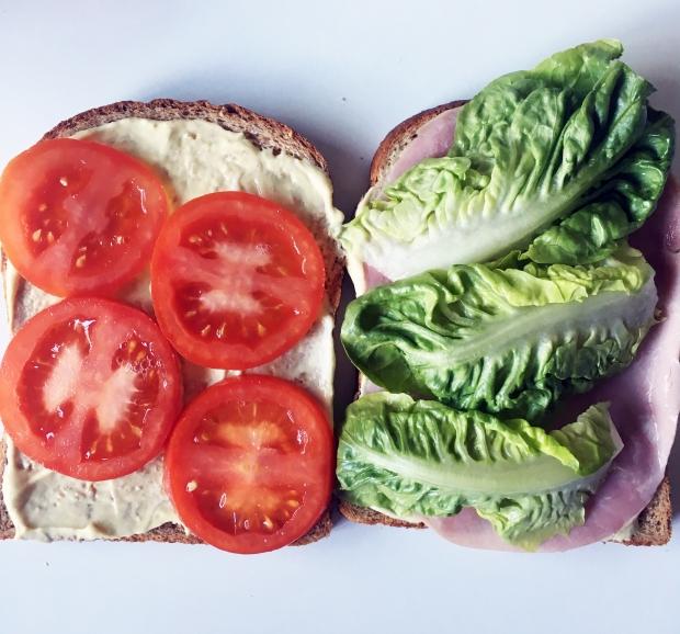 Ham sandwiches inside