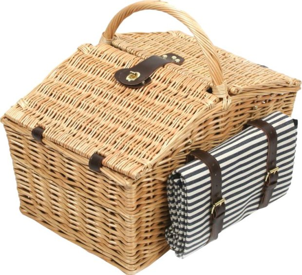 Somerley+Willow+Picnic+Hamper+for+Four+People+with+Matching+Blanket