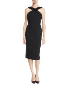 Ruched-Trim Sleeveless Compact Crepe Sheath Day Dress Duchess of Sussex Meghan Markle