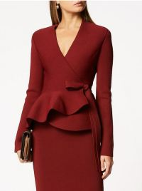 Scanlan Theodore Crepe Knit Wrap Jacket in Garnet Duchess of Sussex Meghan Markle