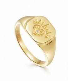 Gold Open Heart Signet Ring